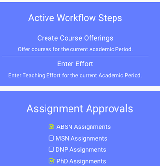 clip of the workflow steps used in the teaching assignment management system